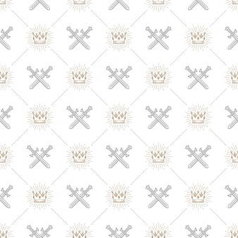 Бесшовный фон со скрещенными мечами и королевской короной в виде солнечных лучей - узор для обоев, оберточной бумаги, книжного форзаца, конверта внутри и т. д.