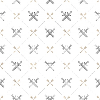Seamless background with crossed swords and arrows - pattern for wallpaper, wrapping paper, book flyleaf, envelope inside, etc.