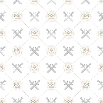 Seamless background with crossed swords and sunburst royal crown - pattern for wallpaper,  wrapping paper, book flyleaf, envelope inside, etc.