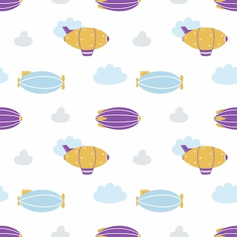 Seamless background with cute airship. endless pattern with aircraft for sewing children clothing, printing on fabric and packaging paper. zeppelin in clouds.