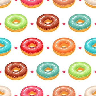 Seamless background with cute donuts in colorful glaze and pink hearts