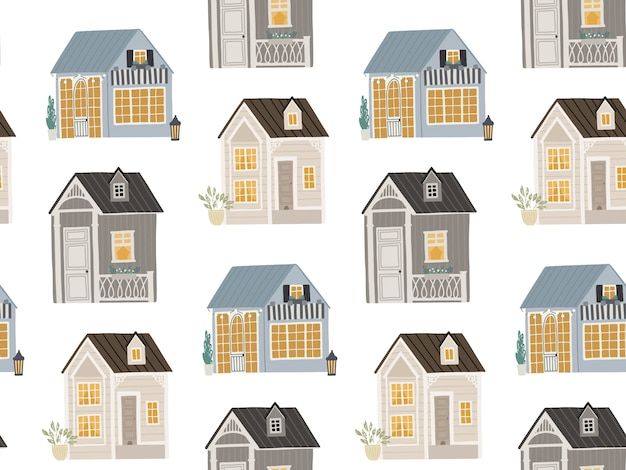 Seamless background with cute houses illustration for children