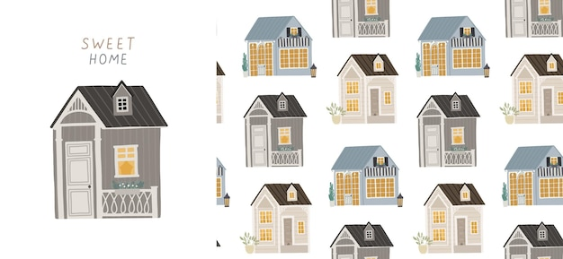 Seamless background with cute houses. illustration for children.