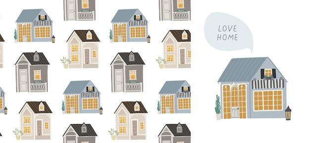 かわいい家とのシームレスな背景。子供のためのイラスト。