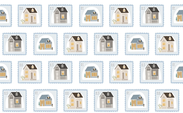 Seamless background with cute postage stamps and houses, illustration for children.