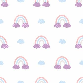 손으로 그리는 스타일의 귀여운 무지개와 함께 완벽한 배경. 벡터 낙서 그림입니다. 어린이 방 벽지. 섬유 및 포장지에 인쇄하기 위한 베이비 패턴입니다.
