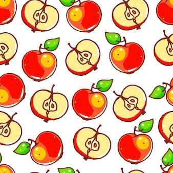 かわいい赤いリンゴとのシームレスな背景