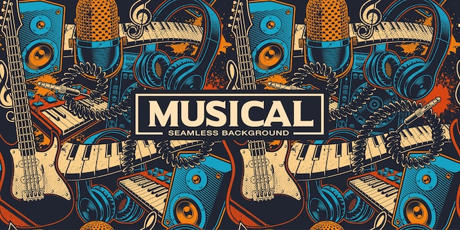 Бесшовный фон с различными мультяшными музыкальными insrtuments. музыкальное искусство. цвета, находятся в отдельных группах.