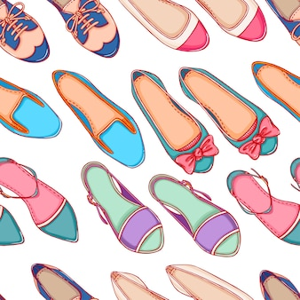 Seamless background with different colored shoes on a white background