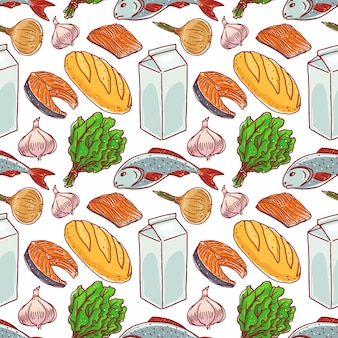 さまざまな食品とのシームレスな背景。魚、牛乳、パン