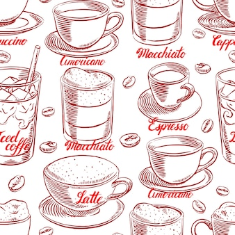 커피와 커피 콩의 컵의 다른 완벽 한 배경. 손으로 그린 그림