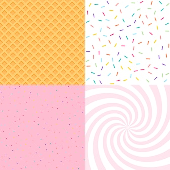 Seamless background with donut and ice cream glaze, confetti, waffle.
