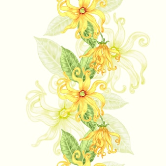 Seamless background with exotic flowers. Premium Vector