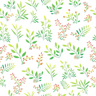 Seamless background with floral pattern of twigs, berries and leaves. vector