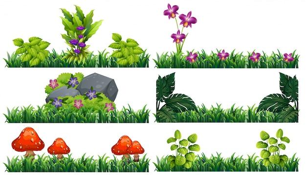 Бесшовный фон с цветами в саду