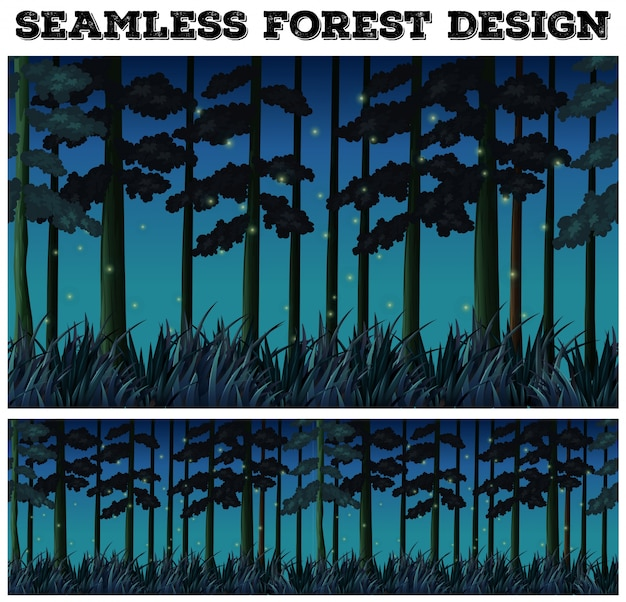 Seamless background with forest at night
