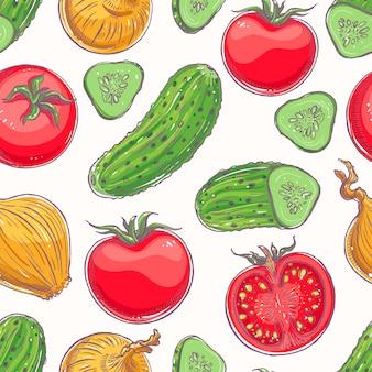 新鮮な手描きの野菜とのシームレスな背景。トマト、きゅうり、玉ねぎ