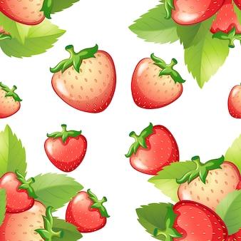 新鮮なイチゴとのシームレスな背景