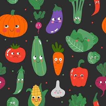 Seamless background with funny vegetable characters showing various face expressions
