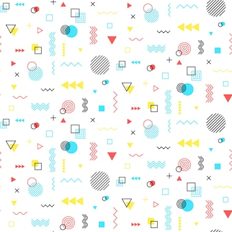 Seamless background with geometric pattern in memphis style