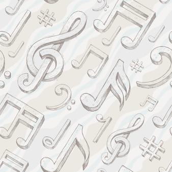 Бесшовный фон с рисованной скрипичный ключ и заметки