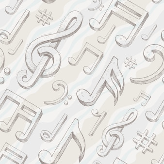 Seamless background with hand drawn treble clef and notes