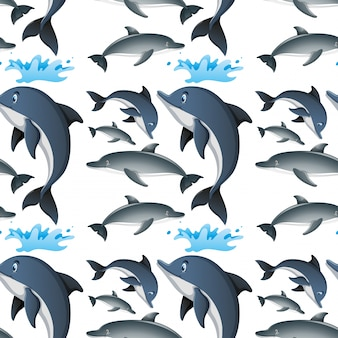 Seamless background with happy dolphins