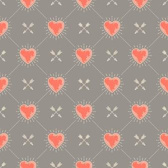 Бесшовный фон с сердечками и стрелками - узор для обоев, оберточной бумаги, книжного форзаца, конверта внутри и т. д.