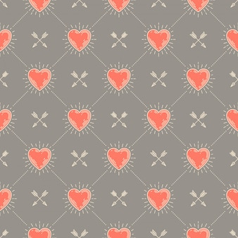 Seamless background with hearts and arrows - pattern for wallpaper, wrapping paper, book flyleaf, envelope inside, etc.