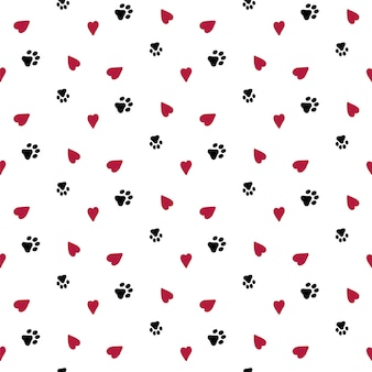 Seamless background with hearts and dog footprint.