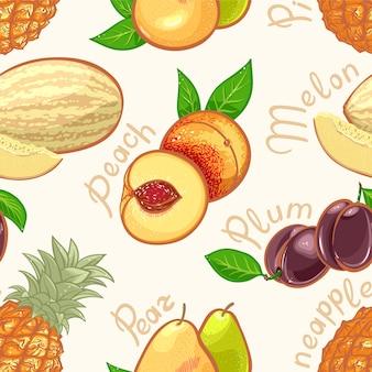 Бесшовный фон с сочными летними экзотическими фруктами