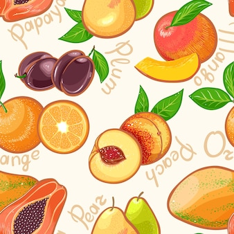 Seamless background with juicy summer exotic fruits