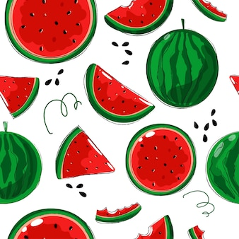 Seamless background with juicy watermelons