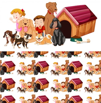 Seamless background with kids and dogs