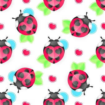 Seamless background with ladybug. simple pattern. vector illustration