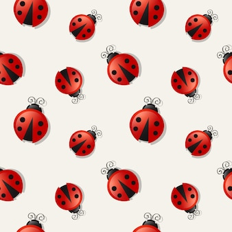 Seamless background with ladybugs.