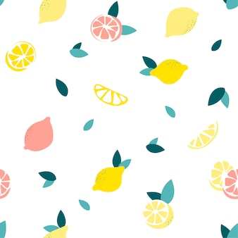 Бесшовный фон с лимонами на белом