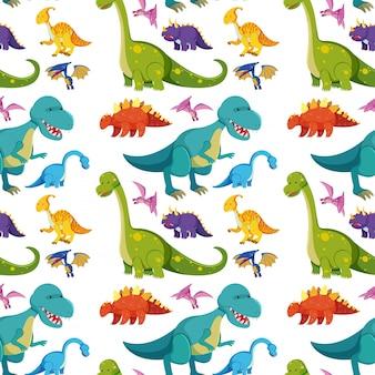 Бесшовный фон с множеством динозавров