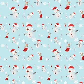 Seamless background with many snowmen