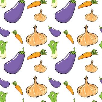 Бесшовный фон с множеством овощей