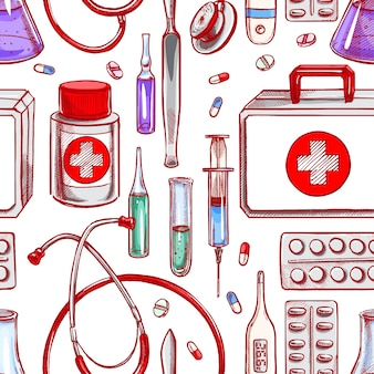 Seamless background with medical supplies. hand-drawn illustration