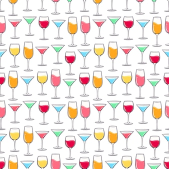 Seamless background with multi-colored glasses of different beverages