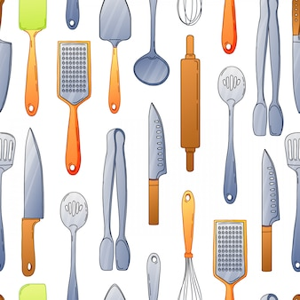 Seamless background with a pattern of cutlery. vertical pattern of colored cutlery. background with kitchen utensils in a cartoon style.