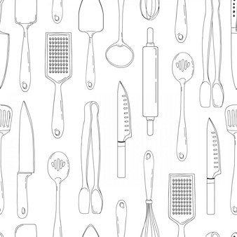 Seamless background with a pattern of outline cutlery. vertical pattern of outline cutlery. background with kitchen utensils in a outline style. wallpaper with kitchen cutlery.