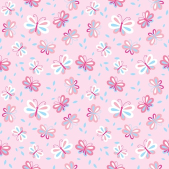 Seamless background with pink butterfly pattern
