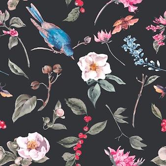 ピンクの花、カブトムシ、鳥とのシームレスな背景