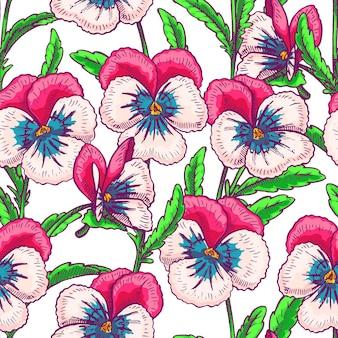 ピンクのかわいいパンジーとのシームレスな背景。手描きイラスト