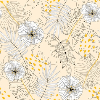 Seamless background with plants, leaves and flowers on beige background