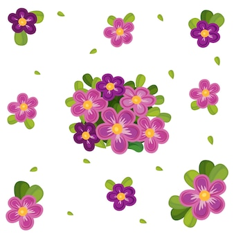 Seamless background with purple flowers