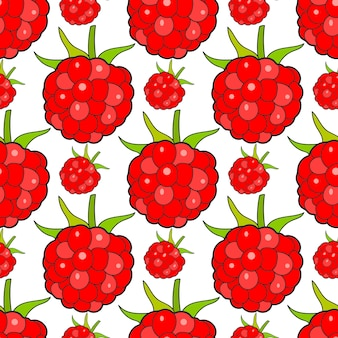 Seamless background with raspberries